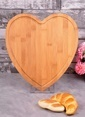 Bayev Ahşap Bambu Büyük Kalp Kesme Panosu Renkli